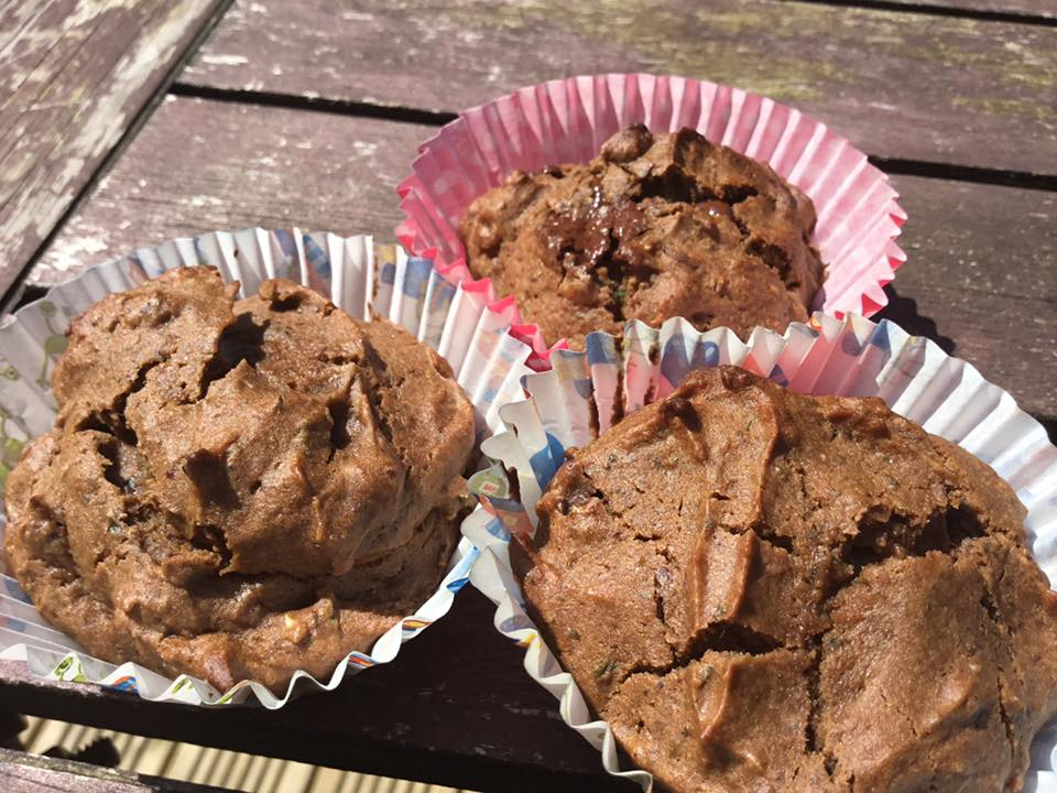 Low sugar easter chocolate broccoli muffins